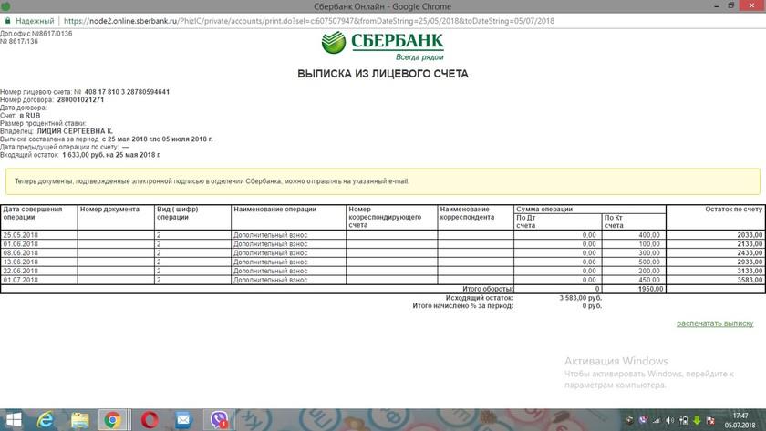 Отсчет о поступлениях Татаренко Денис