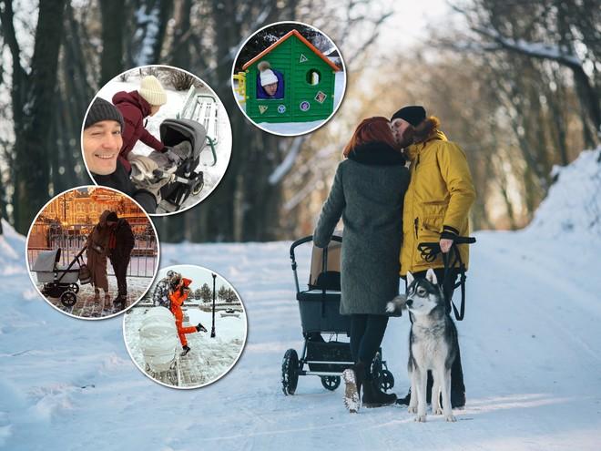 Зимние прогулки: звездные родители с новорожденными малышами