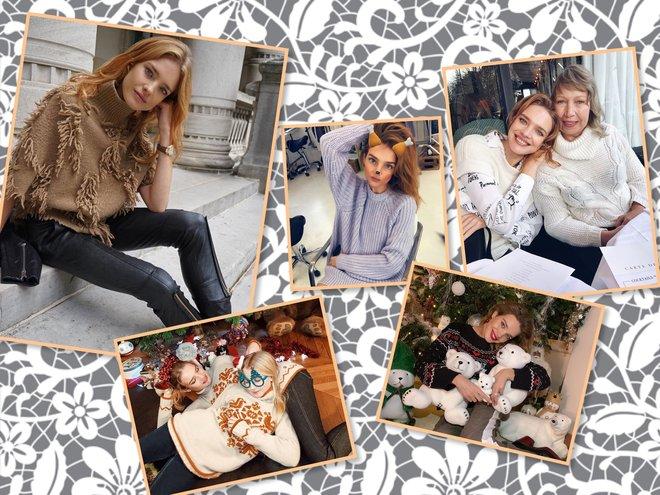 Наталья Водянова любит вязанные вещи