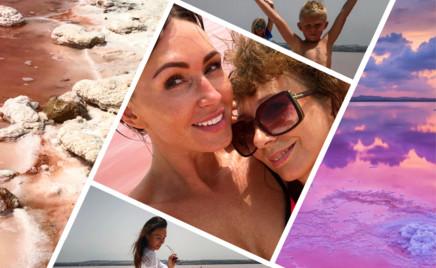 Малафеевы искупались в необычном озере розового цвета