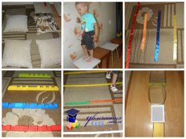 Полоса препятствий для ребёнка из подручных средств дома (от года и старше)